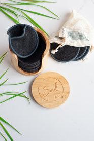 Bamboe Houder met wasbare wattenschijfjes Zwart